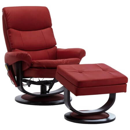 Fotoliu de masaj electric rabatabil cu taburet